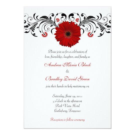 Gerbera Wedding Invitations: Red Gerbera Daisy Black Floral Wedding Invitation