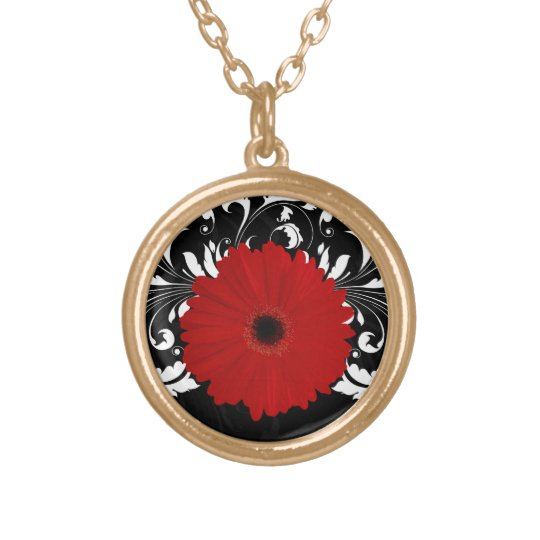 Red Gerbera Daisy Black/White Necklace