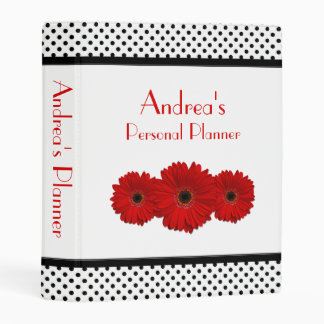 Red Gerbera Daisy Black White Polka Dot Planner Mini Binder