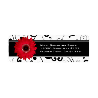 Red Gerbera Daisy Black & White Scroll Label