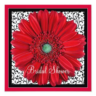 Red Gerbera Daisy Bridal Shower Invitation