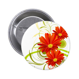 Red Gerbera Daisy Button