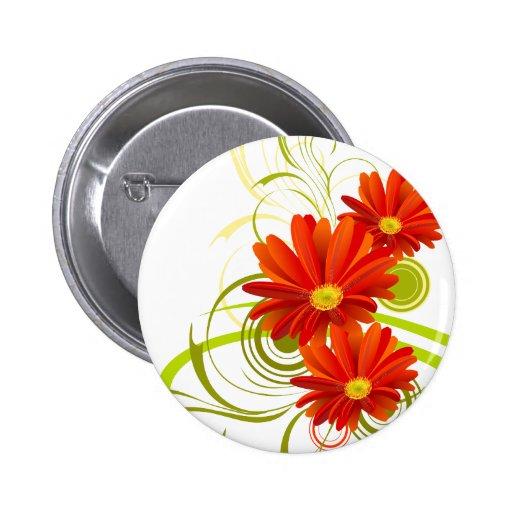 Red Gerbera Daisy Pinback Buttons