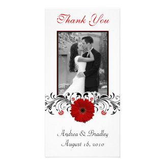 Red Gerbera Daisy Floral Thank You Photo Card