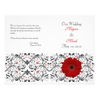 Red Gerbera Daisy Floral Wedding Program Flyers