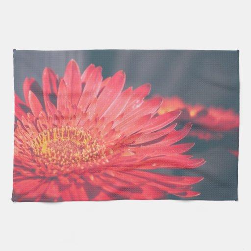 Red Gerbera Daisy Flower Hand Towels