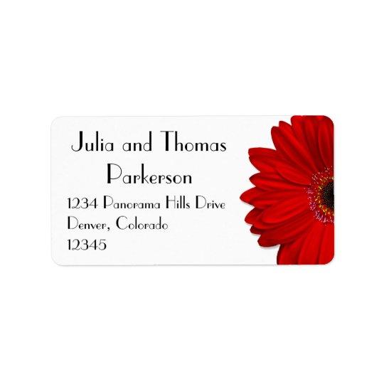Red Gerbera Daisy Flower Wedding Return Address Label