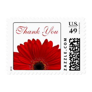 Red Gerbera Daisy Flower Wedding Thank You Postage