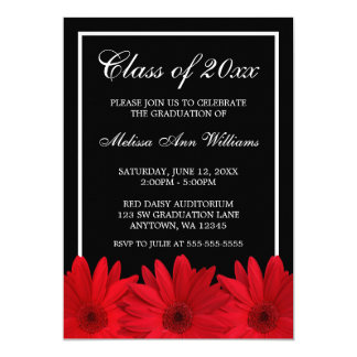 Red Gerbera Daisy Graduation Announcement