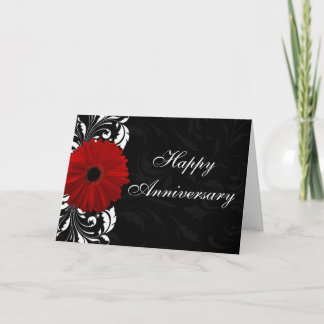 Red Gerbera Daisy Happy Anniversary Custom Card