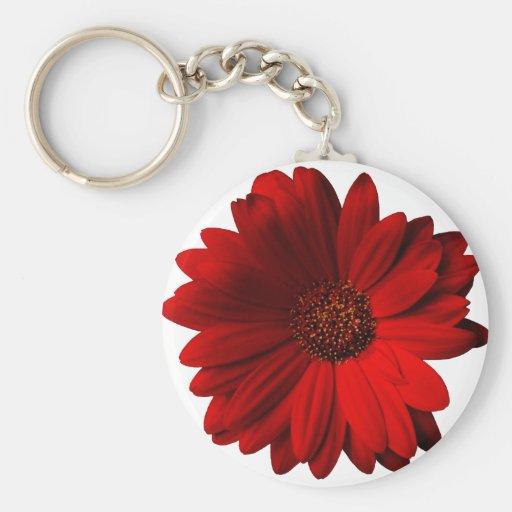 Red Gerbera Daisy Key Chains