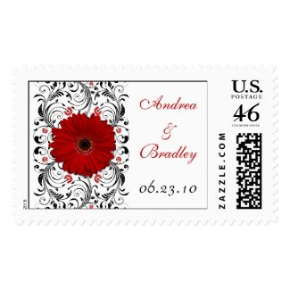 Red Gerbera Daisy Monogram Wedding Postage stamp