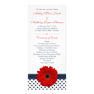 Red Gerbera Daisy Navy Polka Dot Wedding Program