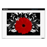 Red Gerbera Daisy on Black Decals For Laptops