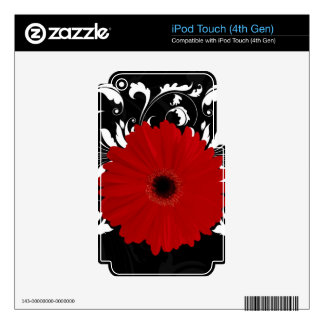 Red Gerbera Daisy on Black iPod Touch 4G Skin