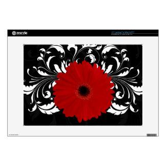 Red Gerbera Daisy on Black Laptop Skin