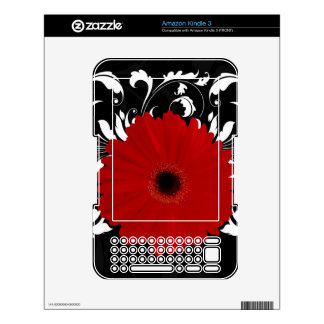 Red Gerbera Daisy on Black Decals For Kindle