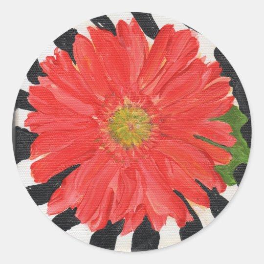 Red Gerbera Daisy on Zebra Classic Round Sticker
