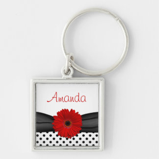 Red Gerbera Daisy Polka Dot Custom Name Keychain