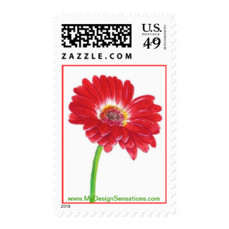 Red Gerbera Daisy Stamps