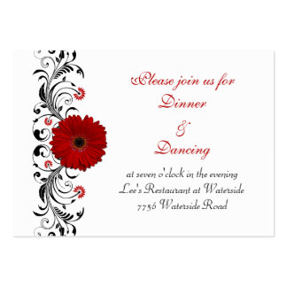 Red Gerbera Daisy Reception Card Large Business Cards (Pack Of 100)