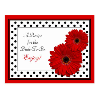 Red Gerbera Daisy Recipe Card for the Bride to Be