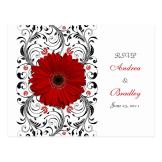 Red Gerbera Daisy RSVP Postcard