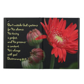 Red Gerbera Daisy Scripture Quote from Deuteronomy iPad Air Cover