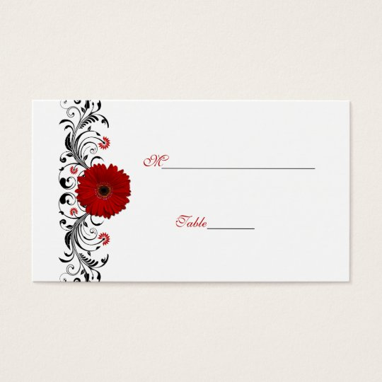 Red Gerbera Daisy Special Occasion Place Card