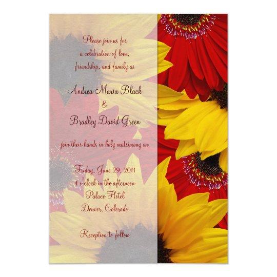Hot Pink Gerbera Daisy White Wedding Invitation 5 X 7: Red Gerbera Daisy Sunflower Wedding Invitation