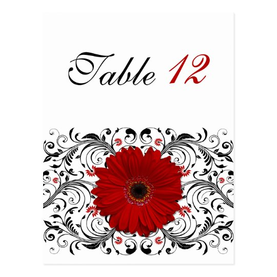 Red Gerbera Daisy Table Number Card