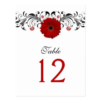 Red Gerbera Daisy Table Number Card Postcard