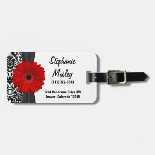 Red Gerbera Daisy Vintage Damask Floral Travel Bag Tags