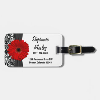 Red Gerbera Daisy Vintage Damask Floral Tag For Luggage