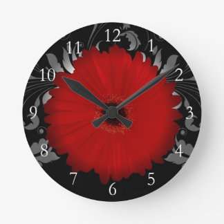 Red Gerbera Daisy w/Swirl Round Wallclock