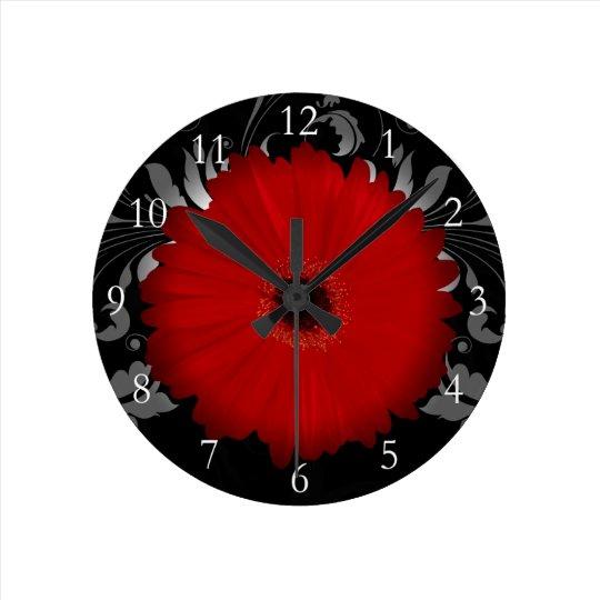 Red Gerbera Daisy w/Swirl Round Clock