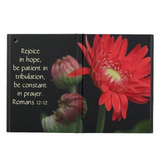 Red Gerbera Daisy w verse of Hope Romans 12 12 iPad Air Cases