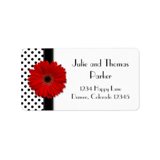 Red Gerbera Daisy Wedding Address Labels