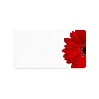Red Gerbera Daisy Wedding Blank Address Label