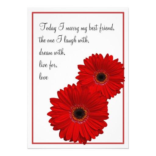 Red Gerbera Daisy Wedding Invitation