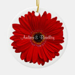 Red Gerbera Daisy Wedding or Anniversary Ornament