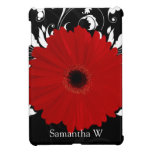 Red Gerbera Daisy with Black and White Swirl iPad Mini Cases
