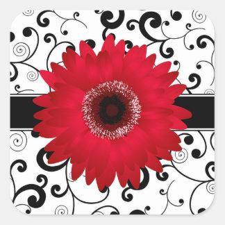 Red Gerbera Daisy with Black Scroll Design Seal Square Sticker