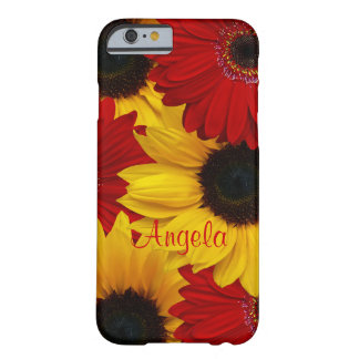 Red Gerbera Daisy Yellow Sunflower Barely There iPhone 6 Case