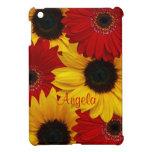 Red Gerbera Daisy Yellow Sunflower Personalized iPad Mini Cover