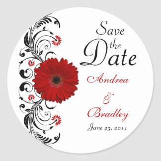 Red Gerbera Floral Save the Date Sticker