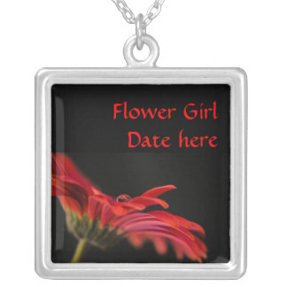 Red Gerbera Flower Girls Wedding Pendants