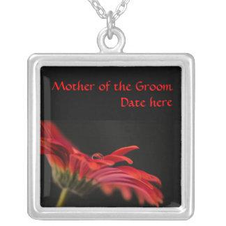 Red Gerbera Flower Mother of the Grooms Wedding Custom Necklace