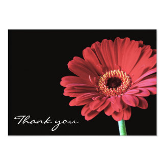 Red Gerbera flower Thank you card announcement