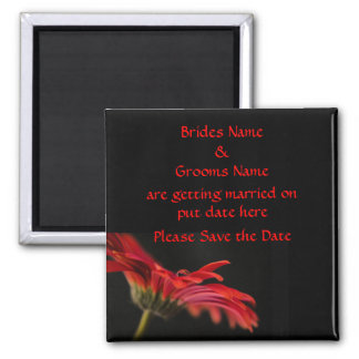 Red Gerbera Flower Wedding Save The Date 2 Inch Square Magnet